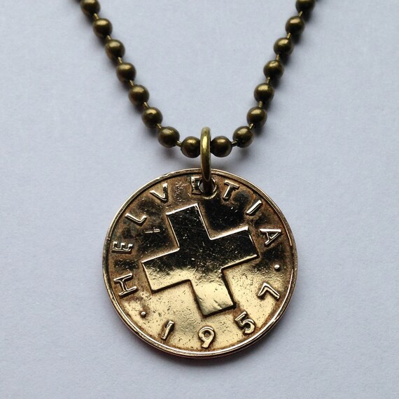 1957 switzerland 2 rappen coin pendant necklace by for Jewelry stores in geneva switzerland