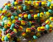 Carnival Mix of Czech Pressed Large Hole Beads 7-9mm Colourful Festival Hippy African Tribal Surfer
