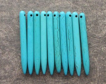 10 Turquoise Howlite Pointed Stick Beads 49mm Long Gemstone Boho Pendant Fringe