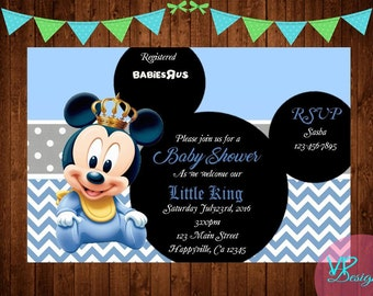 Baby Mickey Mouse Baby Shower Invitation, Baby Prince Mickey Mouse Baby  Shower Invitation