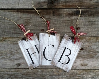 Hand Painted and Distressed Wooden Personalized Ornament Tags, Primitive Christmas Ornament Tags, Rustic Gift Tags, Rustic Wedding Favor,