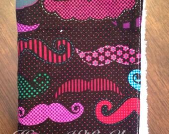 Multi color mustache burp cloth- Ready to Ship!