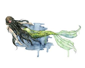 "Watercolor Mermaid Painting - Print titled, ""Drifting"", Mermaid Painting, Beach Decor, Mermaid Tail, Mermaid Print, Mermaid Wall Art, Sea"