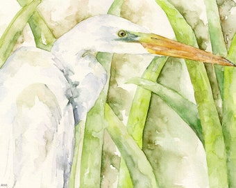 "Egret Painting - Print from Original Watercolor Painting, ""The Water Stalker"", White Egret, Bird, Waterfowl"
