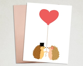 Valentine cards- Love cards- Anniversary card- Cards for her- Cards for him- Valentines Day- Hedgehogs- Wedding Card