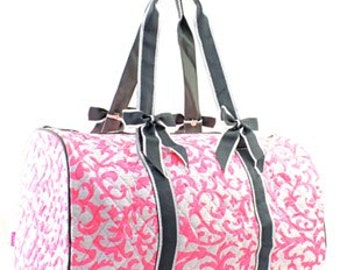 Quilted Damask Shoulder Duffel Bag WITH FREE MONOGRAM