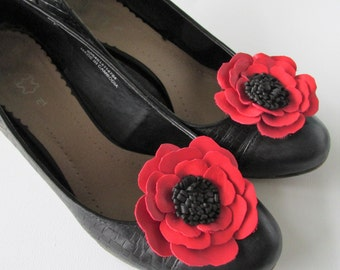 Red leather flower shoe clips, red & black leather flower, red  poppy shoe clips, red flowers, poppies, pair of shoe flowers,handmade Ruby62