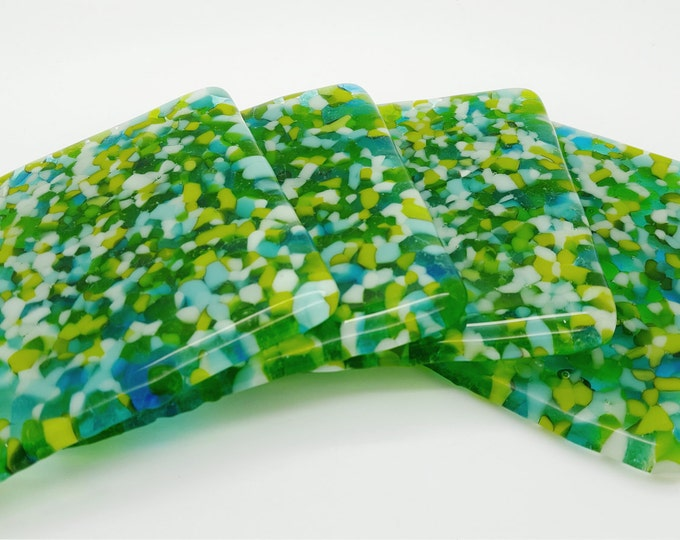 Blue & green fused glass coaster set. Coffee table handmade tiles. Patio barbeque home decor Wedding anniversary birthday housewarming gifts