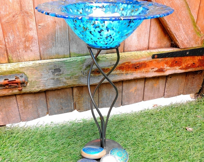 Round blue fused glass bowl, floating candle holder on metal stand, fruit dish. Decorative bowl. Home decor. Garden ornament. Wedding gift