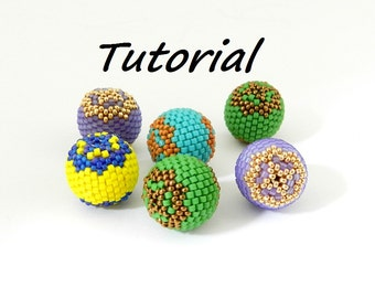 Tutorial Beaded Bead. PDF file instant download. Beaded bead tutorial,beadwork, beading, bead weaving, bead woven, Jewelry lesson