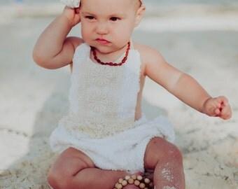 Vintage Chenille Boho Baby Romper Play Suit, vintage white chenille and macrame trim - 3-6m, 6-12m, 12-18m, 24m, 2/3T, 4/5T