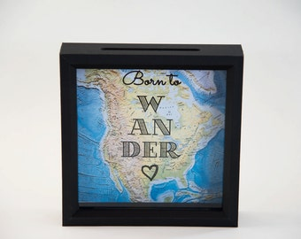 Shadow Box Ticket Holder - Black Ticket Stub Holder - 8x8 Inch Shadow Box Drop Top Frame - Born to Wander - Unique Gift - Map Shadow Box