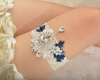 white lace bridal garter, wedding garter, bride garter , lace garter, rhinestone beaded floral garter,pendant garter,something blue garter