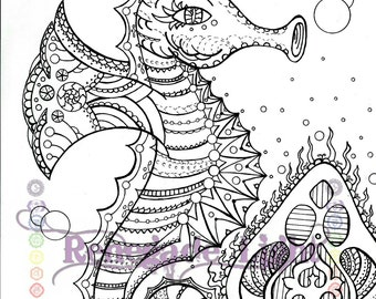 zentangle seahorse seahorse coloring page seahorse meditation coloring aquatic coloring page adult - Seahorse Coloring Page