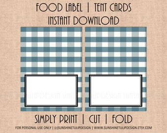 Printable Buffalo Plaid Check, Printable Plaid Navy and White Table Tent Cards Labels by SUNSHINETULIPDESIGN