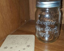 Laser Engraved Mason Jar and Set of Two Oh My Stars Wood Coasters ~ Gifts for Her ~ Gifts for Him ~Housewarming Gift ~ Southern Decor