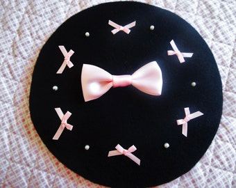 Black Kawaii Lolita Beret