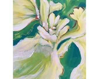 White iris  flower painitng acrylic on canvas
