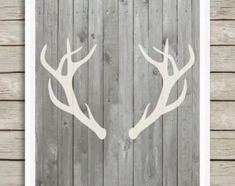 Wood and Deer Antlers Nursery Art Print Woodland Nursery Decor