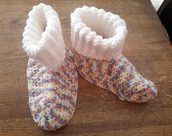 Pastel Colors Cozy Crochet Slippers, Size Large