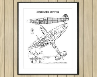 "Spitfire Blueprint, Airplane Blueprint, Instant Download, Spitfire, Airplane Art, Aviation Art, Black and White, Blueprint, 8x10"", 11x14"""