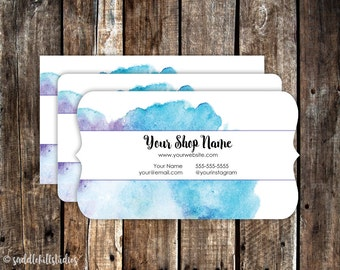 Business Cards - Custom Business Cards - Personalized Business Cards - Mommy Calling Cards - Blue Watercolor - P0120-7