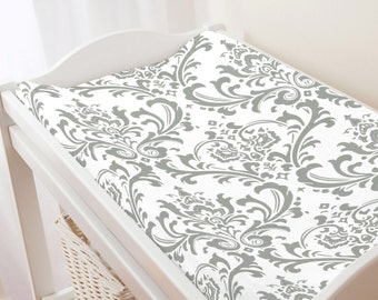Carousel Designs Gray Traditions Damask Changing Pad Cover