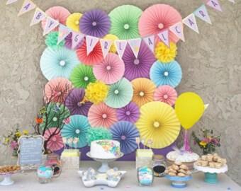 10pc pastel rainbow Paper Pinwheel Rosette Party Decoration Set wedding , birthday party ,backdrop background baby shower cake table