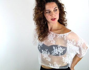 Ivory Rose Loose Crop Top