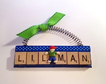 Little Man Lil Man Scrabble Tile Ornament