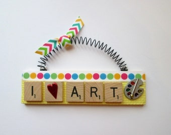 Art Artist Painting Scrabble Tile Ornament