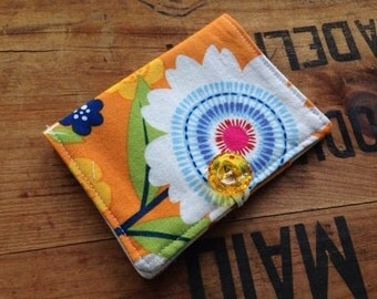 Orange Tea Wallet, Funky Floral Tea Wallet, Gifts Under Ten, Stocking Stuffer, Tea On The Go, Bright Tea Wallet, Gifts Tea Drinkers