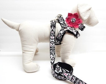 Step-In Dog Harness, Leash and Bow Tie Combo - Pick Any Fabric In Shop