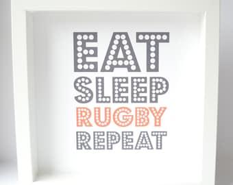 Eat Sleep Repeat framed print - Free UK Postage