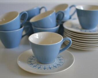 Vintage Homer Laughlin Fleur de Lis Coffee / Tea Cups and Saucers - 11 Cups/10 Saucers
