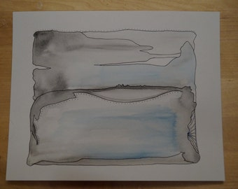 Blue and Black original abstract watercolor mixed media 8 x 10