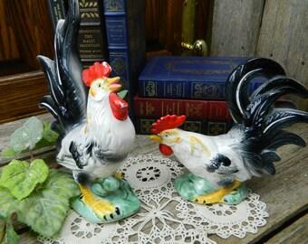 Vintage Large Rooster and Hen Figurines - Japan