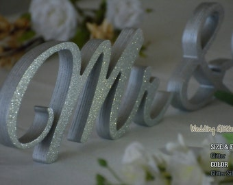 Glitter Mr and Mrs, Wall Decorations, Plum Sign Mr & Mrs,