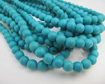 Turquoise Bead Strand, Synthetic, Blue Green, Dyed, Round, 4mm, 100 Piece Strand, Sale, Jewelry Supply