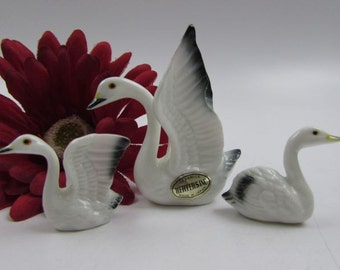 Vintage Swan Family Bone China Miniatures