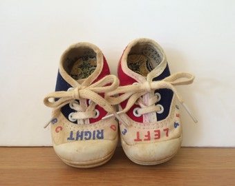 Vintage Right Left Toddlers Sneakers Childrens Tennis Shoes Red White Blue Sneakers Size 1