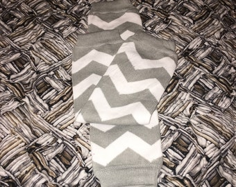 Gray chevron  baby leg warmers