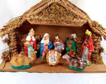 Vintage Nativity Paper Mache Japan, Holy Family, Creche, Vintage Christmas Nativity, Nativity Stable, Holy Family, Vintage nativity
