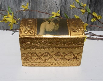 Vintage Italian Box, Gold Gilt Florentine Gesso Rococo Tole Wood Trunk Trinket Jewelry Keepsake Box With Picture Of Woman
