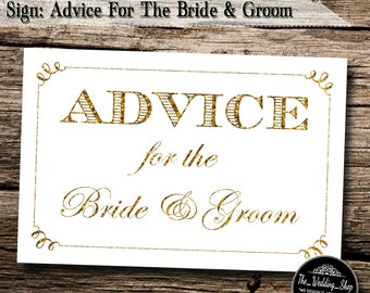"""Instant Download- 4"""" x 6"""" Printable PDF Gold Glitter Effect DIY Wedding Sign: Advice For The Bride & Groom"""