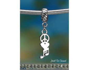 Sterling Silver Peace Love Music Charm or European Style Bracelet .925
