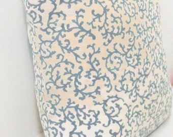 Invisible Zipper Snow Blue  and Cream Pillow Cover-Nautical-10 Sizes Available