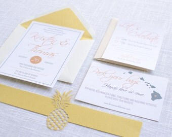 Hawaiian Pineapple Wedding Invitation Suite Sample or Deposit / Destination Beach Wedding Invitation / #1120