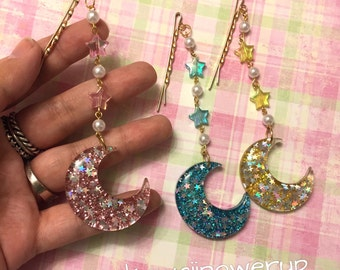 Glitter Moon Dangle Hair Pin (options available)