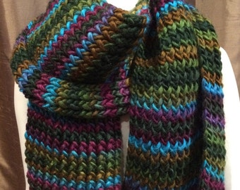 Handcrafted Jewel Tone Wool Scarf